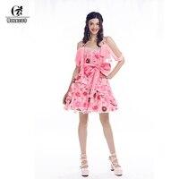 ROLECOS 2018 New Arrival Women Lolita Dress Doughnuts Print Chiffon Pink Dress Sleeveless Sweet Lolita Dress for Female