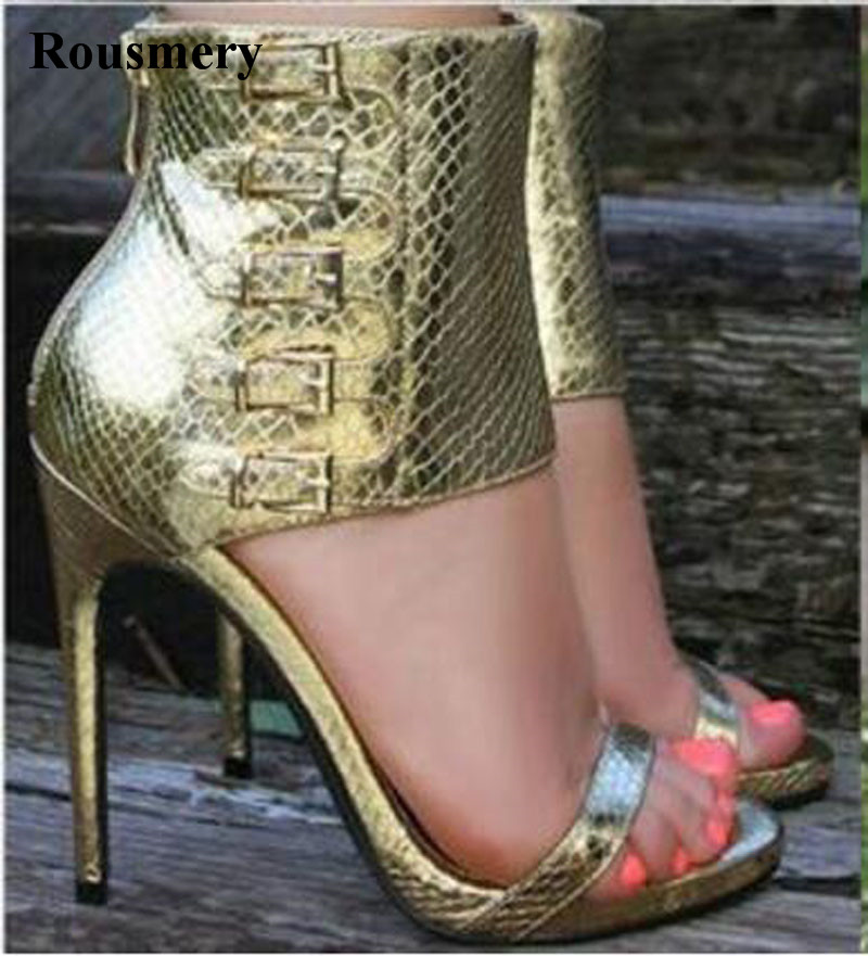 New Design Women Fashion Open Toe Ankle Wrap High Heel Sandals Cut-out Buckle Design Dress Sandals Gladiator Sandals summer new fashion ankle wrap glitter sandals sexy open toe cut outs high heels women ruffles decoration gladiator sandals