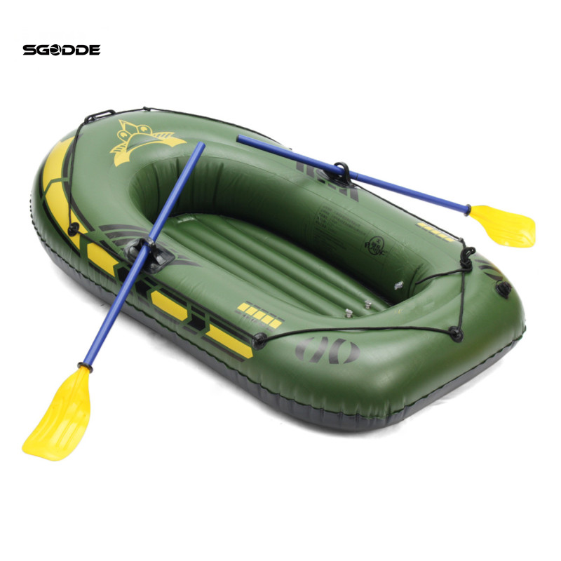 SGODDE 2Person/3Person Thickening PVC Inflatable Boat Raft River Lake Dinghy Boat Pump Fishing Boat with Oars Set Load 200kg