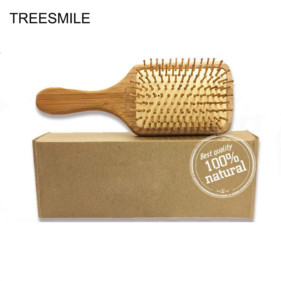 Wooden Bamboo Hair Brush Pin Hairbrush Scalp Massage Improve Hair Health Wood Paddle Detangling Comb D30