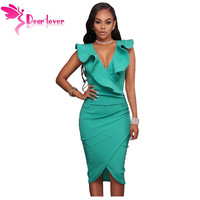 Dear Lover Women Summer Sleeveless Dress Sexy Solid Turquoise Ruffle V Neck Bodycon Midi Tight Wrap