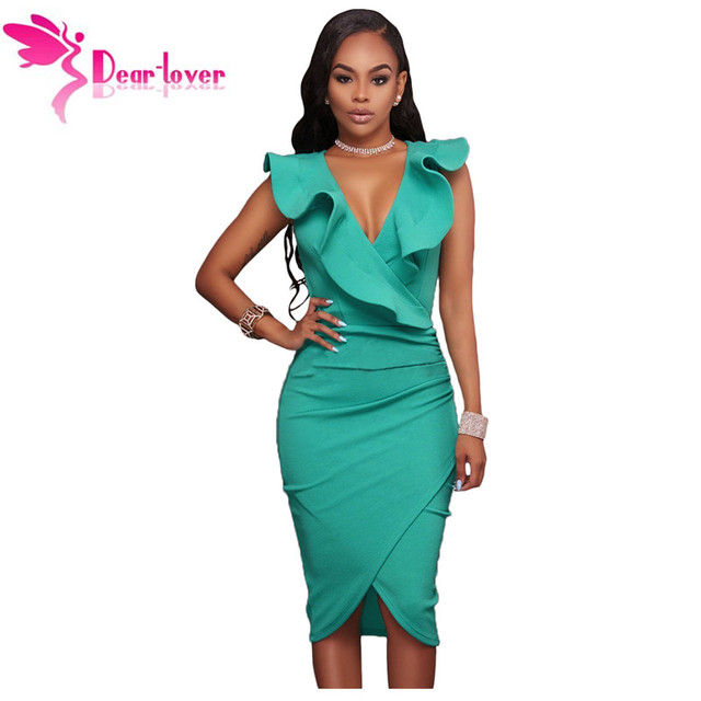 Dear Lover Women Summer Sleeveless Dress Y Solid Turquoise Ruffle V Neck Bodycon Midi