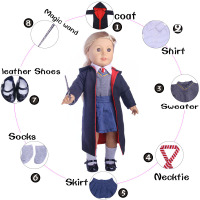 Doll Suit Coat Shirt Tie Denim Skirt Magic Bar Shoes Socks For 18 Inch American Girl
