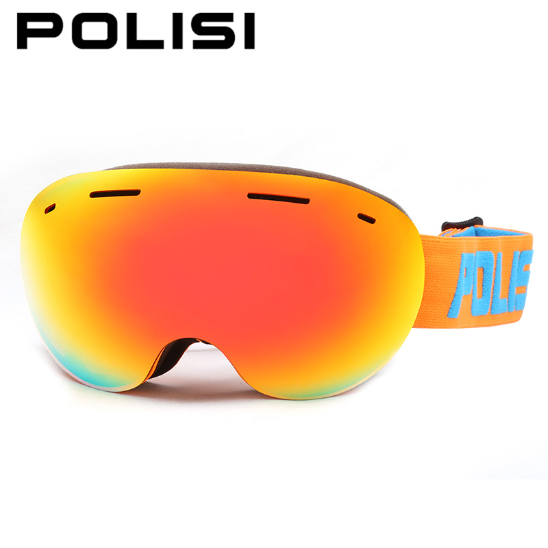 POLISI Men Women Ski Goggles Big Spheral Double Layer Lens Snowboard Snow Glasses Anti-Fog UV400 Snowmobile Protective Eyewear polisi brand new designed anti fog cycling glasses sports eyewear polarized glasses bicycle goggles bike sunglasses 5 lenses
