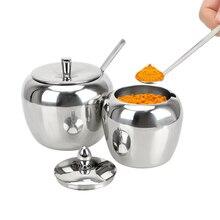Для баночек со Нержавеющая сталь приправа горшок Apple сахарница контейнеры с крышкой для специй и ложки, кухонные принадлежности Посуда