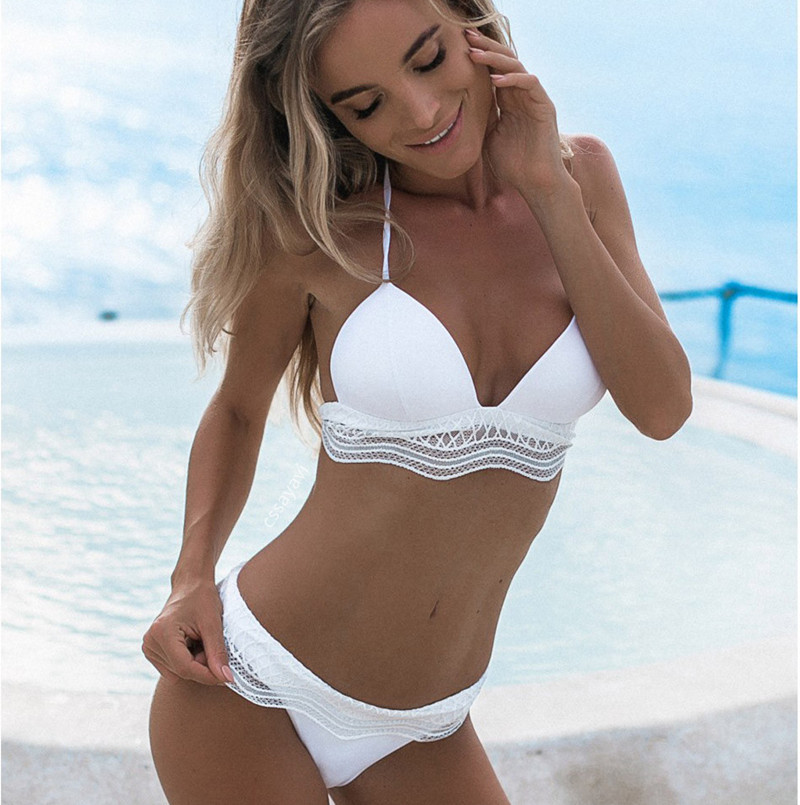 2019 white two piece Swimsuit micro Bikini tanga set Women black lace bikini bathing costume Sexy lady knot bow bandeau swimwear