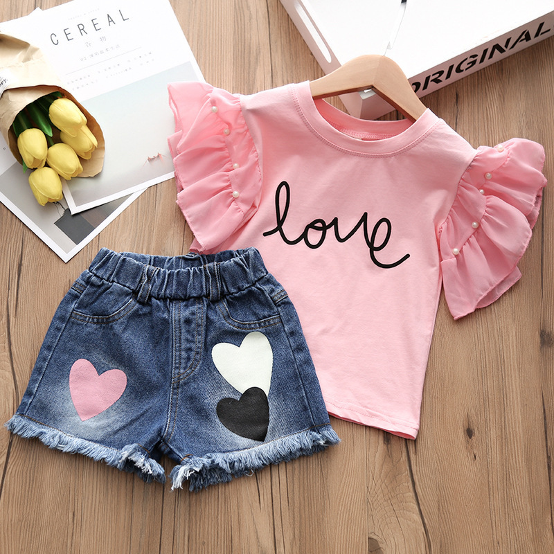Alice summer hot style 2018 children jeans + t-shirts, children's wear two-piece han edition of the new children's shorts 2