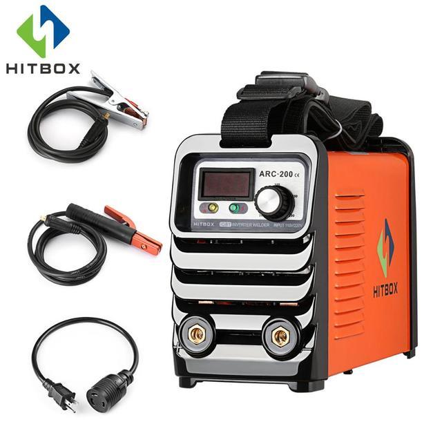 HITBOX Arc Welder 110V 220V Arc200 DC MMA Welding Machine Two Voltages Welders With Change Over Plug