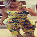 Hot sale 2017 women's Jumpsuits yellow printed casual spaghetti strap loose Jumpsuits long length flower pattern Jumpsuits H219