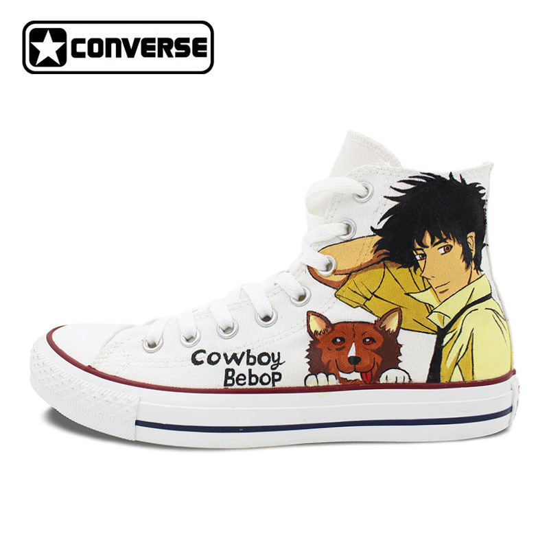 Spike Spiegel Cowboy Bebop Design Converse All Star Anime Shoes Custom White Canvas Sneakers Men Women Hand Painted Shoes sneakers men women converse all star anime fairy tail galaxy design custom hand painted shoes man woman christmas gifts
