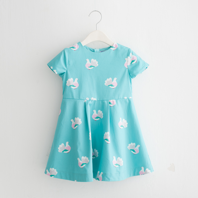 Peace Dove Girls Dress 2019 Autumn New 80 Satin Imported Cotton Print European and American Dress