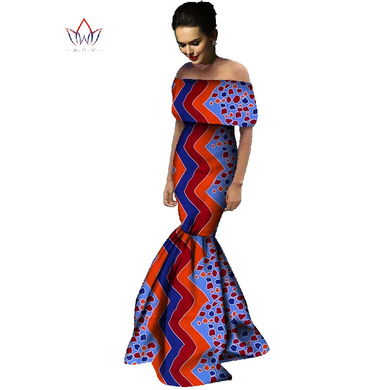 US $48.8 17% OFF|African Print Dresses Off Shoulder Wrap Dress Dashiki  African Print Unique Ethnic Mermaid Dress Plus Size Women Clothing WY736-in  ...