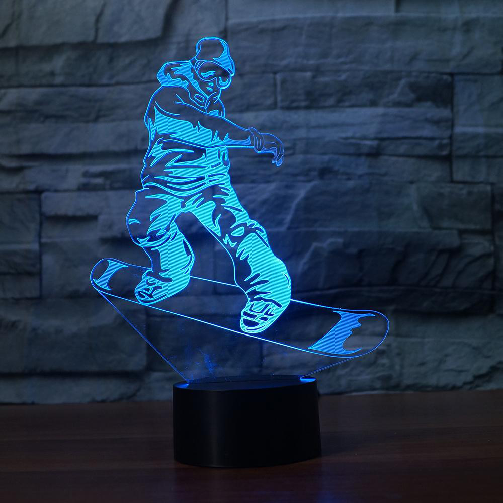 Snowboarding Model 3D Night Light LED Illusion Ski Men 3 Lamp LED 7 Color Changing USB Remote Touch Baby Sleeppin Lamp Best Gift