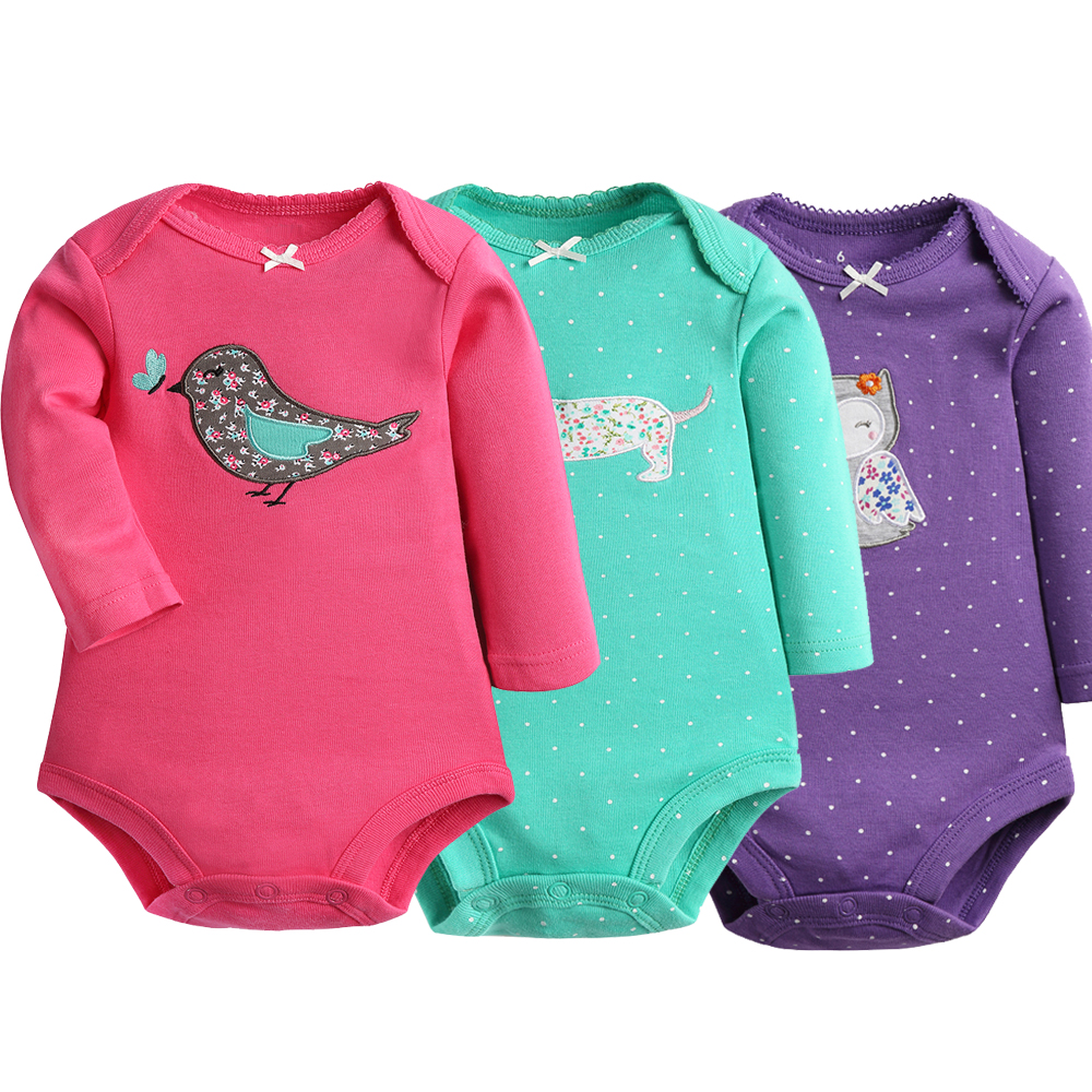 Baby Bodysuits Baby Girls Cotton Clothes 3 4 PC Long Sleeves Warm Clothing Autumn Spring Clothes Newborn 6 24M Babies Clothing in Bodysuits from Mother Kids