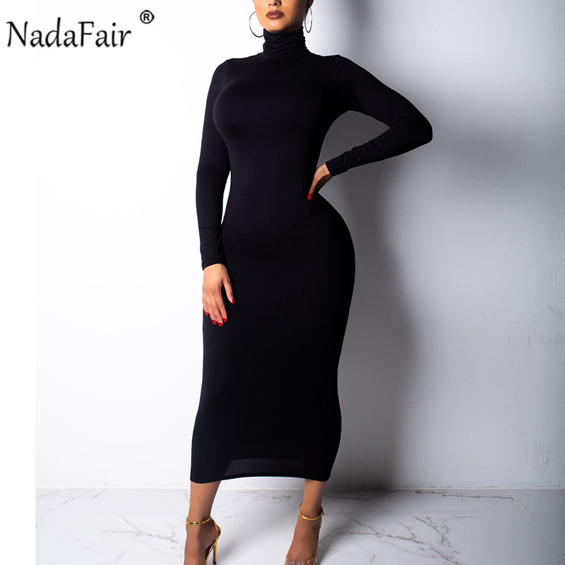 Nadafair 2019 Autumn Sexy Bodycon Long Dress Women Turtleneck Long Sleeve Winter Dress Red Black White Club Party Midi Dress