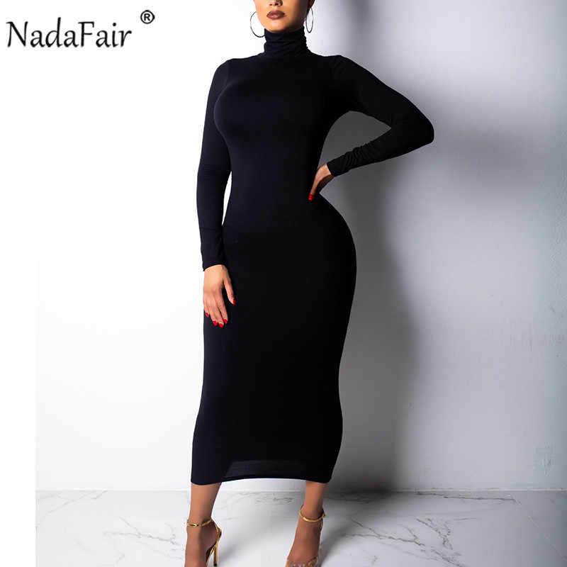 Nadafair 2019 осеннее сексуальное длинное платье в обтяжку Женское зимнее платье с высоким воротом и длинными рукавами красные, черные, белые Клубные Вечерние Платья Миди