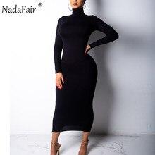 Nadafair Turtleneck Long Sexy Bodycon Dress Women Autumn Winter Long Sleeve Basic Red Black White Solid Midi DressDresses