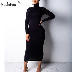 Nadafair Turtleneck Long Sexy Bodycon Dress Women Autumn Winter Long Sleeve Basic Red Black White Solid Midi Dress