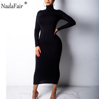 Nadafair Turtleneck Long Sexy Bodycon Dress Women Autumn Winter Long Sleeve Basic Red Black White Solid Midi Dress