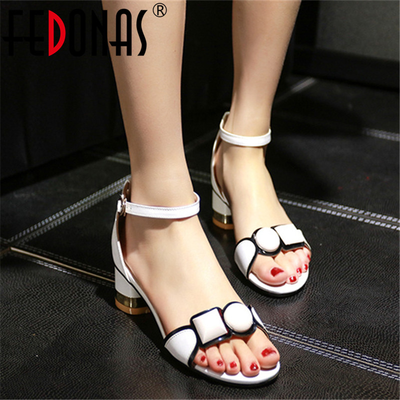FEDONAS 2019 Summer New Fashion Sweet Women Sandals Genuine Leather High Heels Buckle Party Shoes Woman