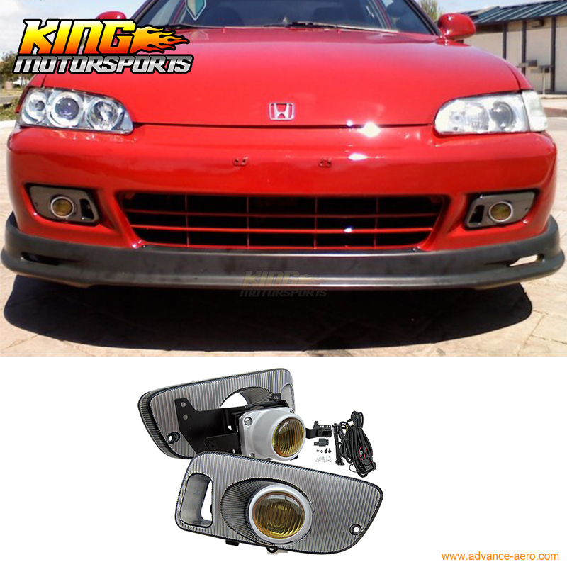 Fit For 92-95 Honda Civic 2/3Door Factory Yellow Lens Fog Lights Lamps Kits(Pair) USA Domestic Free Shipping