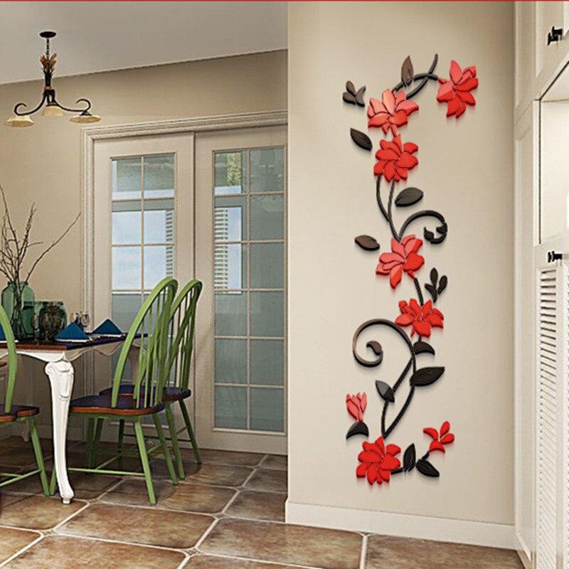 4 tamanho colorido rosa flor 3d acrílico decoração adesivo de parede diy arte cartaz da parede decoração casa hall quarto wallstickers