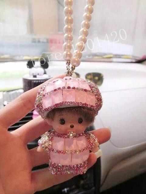 MONCHHICHI Кулон зеркало заднего вида очарование monchichi кукла украшения жемчуг цепи брелок симпатичные женщины автомобильные аксессуары