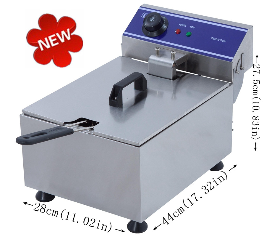 CE Approved 10L Electric Deep Fryer Stainless Steel Frying Machine Commercial Or Household Fryer