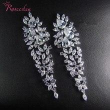 Fashion Charm AAA Cubic Zircon Leave Pendant Earrings For Women Bridal Wedding Party Earring Jewelry Gift RE3227 цена