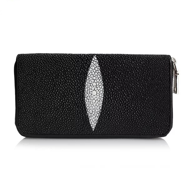 Fashion Black White Designer Genuine Pearl Fish Skin Unisex Long Zipper Clutch Wallet Exotic Leather Women Men Organizer Wallet
