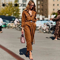 BerryPark 2019 High Fashion Winter Brown Denim Rompers Women Loose Belt Pocket Jean <font><b>Jumpsuits</b></font> Cargo Streetwear Drop Shipping
