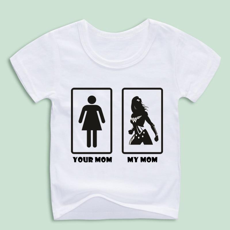 Childre смешно ваши мама моя мама Wonder Woman Футболки для мальчиков и девочек футболки