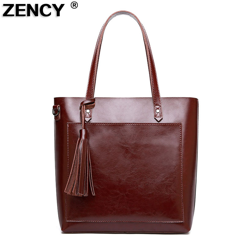 ZENCY Vintage Genuine Leather Oil Wax Cowhide Shopping Bucket Women Shoulder Bags Handbag Cross Body Messenger Female Bag Purse 2018 women messenger bags vintage cross body shoulder purse women bag bolsa feminina handbag bags custom picture bags purse tote
