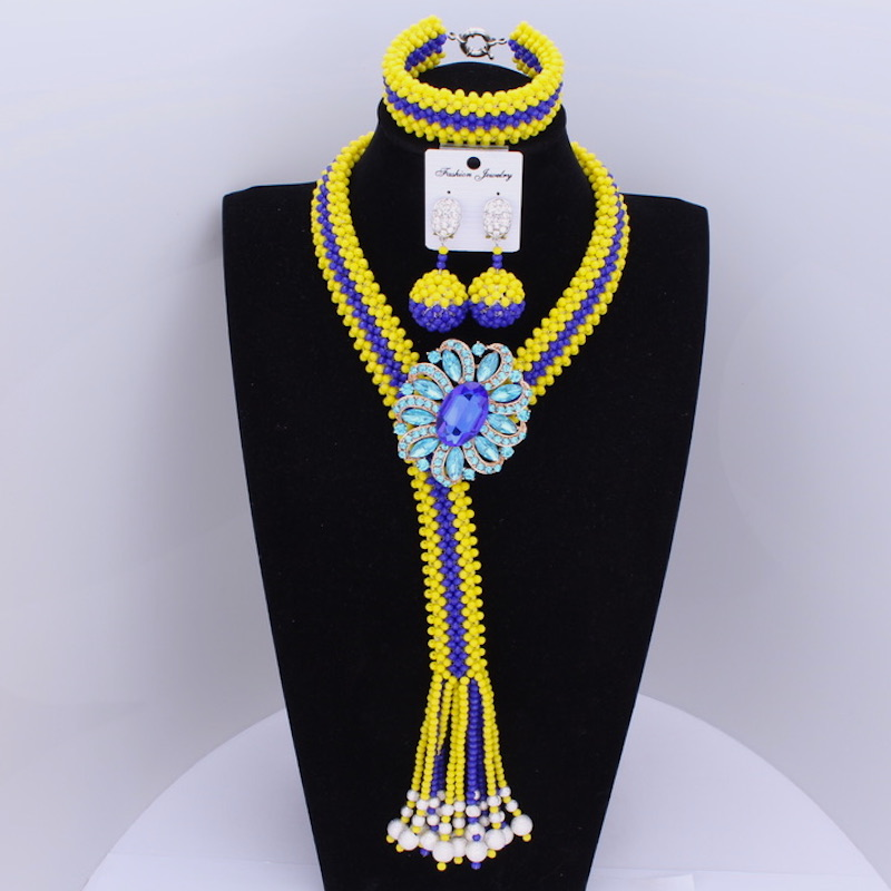 Dudo Nigerian Wedding African Beads Jewelry Sets Yellow & Royal Blue Crystal Necklace Sets For Women Free Shipping 2018 Fashion baby hats baby toddler kids boy girl knitted crochet rabbit ear beanie winter warm hat cap dropship ma30m30