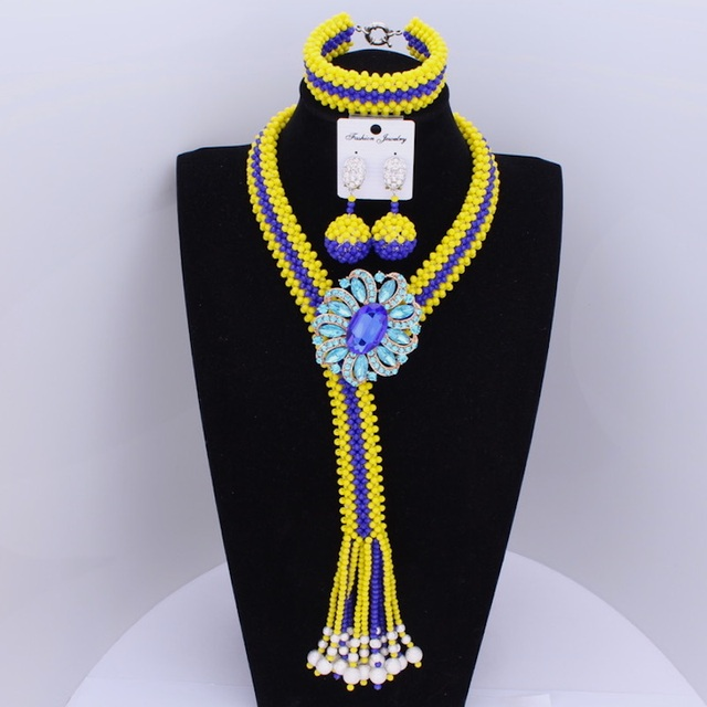 Dudo Nigerian Wedding African Beads Jewelry Sets Yellow & Royal Blue Crystal Necklace Sets For Women Free Shipping 2018 Fashion