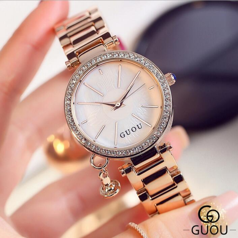GUOU Brand Diamond Wrist watches Fashion Pendant Watch Women Luxury Rose Gold Full Steel Clock relogio feminino bayan saat guou official brand diamond wrist watches fashion pendant women luxury rose gold watch full steel clock relogio feminino gifts