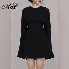 Max Spri 2019 New Fashion Women 2 Piece Set Suits O Neck Sleeveless A-Line Mini Black Dress Cloak Long Sleeve Outer Cover