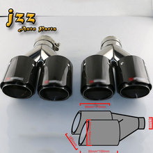 1set(2pcs) akrapov double Slant And Not Rolled Burning Black Stainless Steel car silencer exhaust Pipe Muffler Tail tips