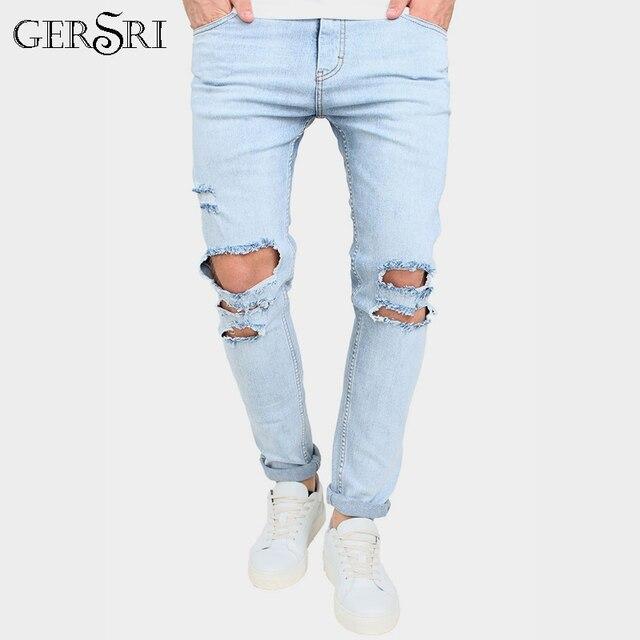 8090c5601f Pantalones vaqueros de mezclilla ajustados para hombre de estilo Gersri destruido  Pantalones vaqueros de moda para