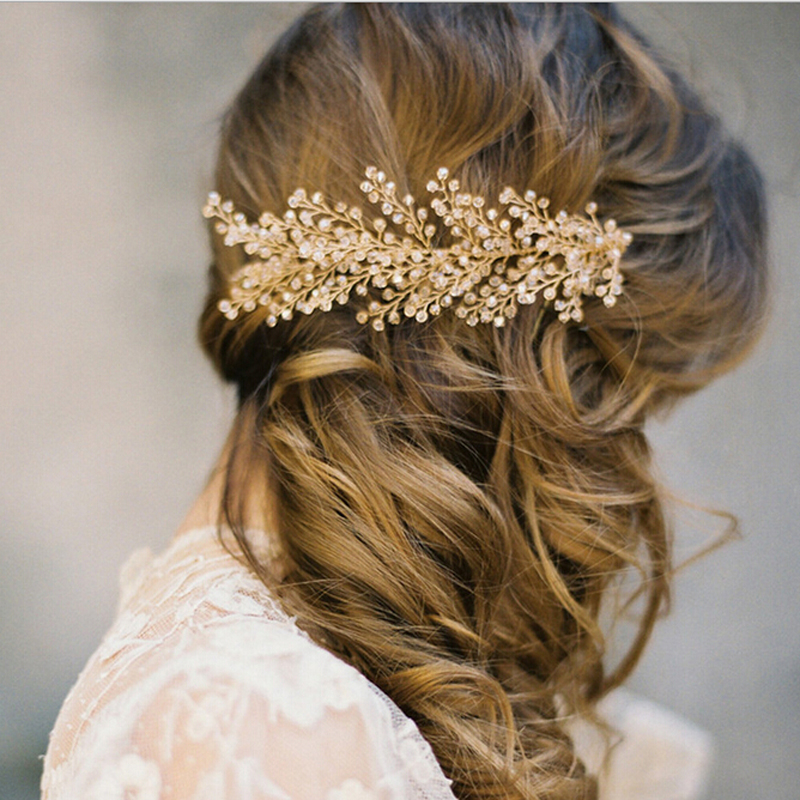 Metting Joura wedding romantic gold crystal faceted beads braided flower hair comb bride hair jewelry bridal hair accessories metting joura vintage bohemian ethnic tribal flower print stone handmade elastic headband hair band design hair accessories
