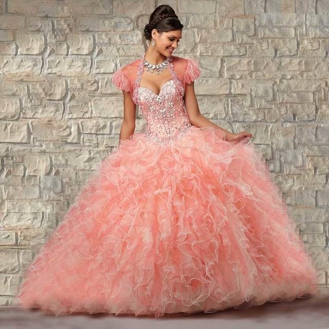 Nova Chegada Aparência Rosa Querida Cristais Luxo Frisada Ruched Vestido Quinceanera com revestimento Em Linha Lace up B1886