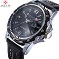 Relojes de caballero de marca julius hombres relojes de cuarzo ronda moda lujo deportes fecha impermeable de cuero casual reloj militar del ejército 007