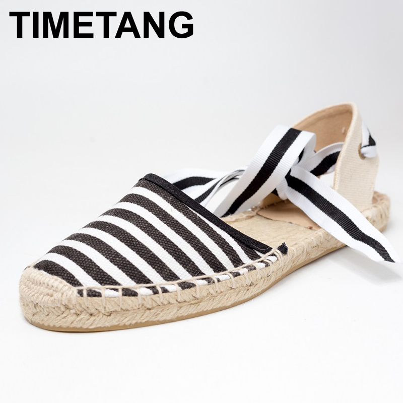 TIMETANG Canvas Espadrille Women Flats Ankle Strap Hemp Bottom Fisherman Shoes For 2017 Spring/Autumn Women Loafers #CH819 vintage embroidery women flats chinese floral canvas embroidered shoes national old beijing cloth single dance soft flats