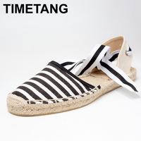 TIMETANG Canvas Espadrille Women Flats Ankle Strap Hemp Bottom Fisherman Shoes For 2017 Spring Autumn Women