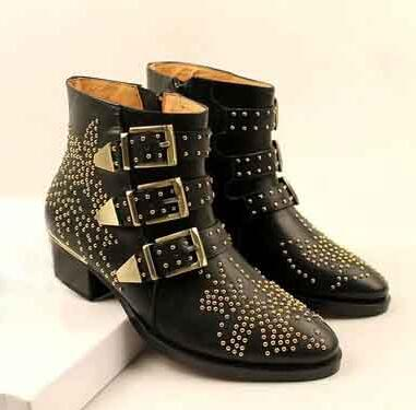 Hot Selling Branded Black Leather Studd Ankle Boots Stacked Block-heel Women Buckle Straps Boots Winter Ridding Boots Free Ship studd decorated belt
