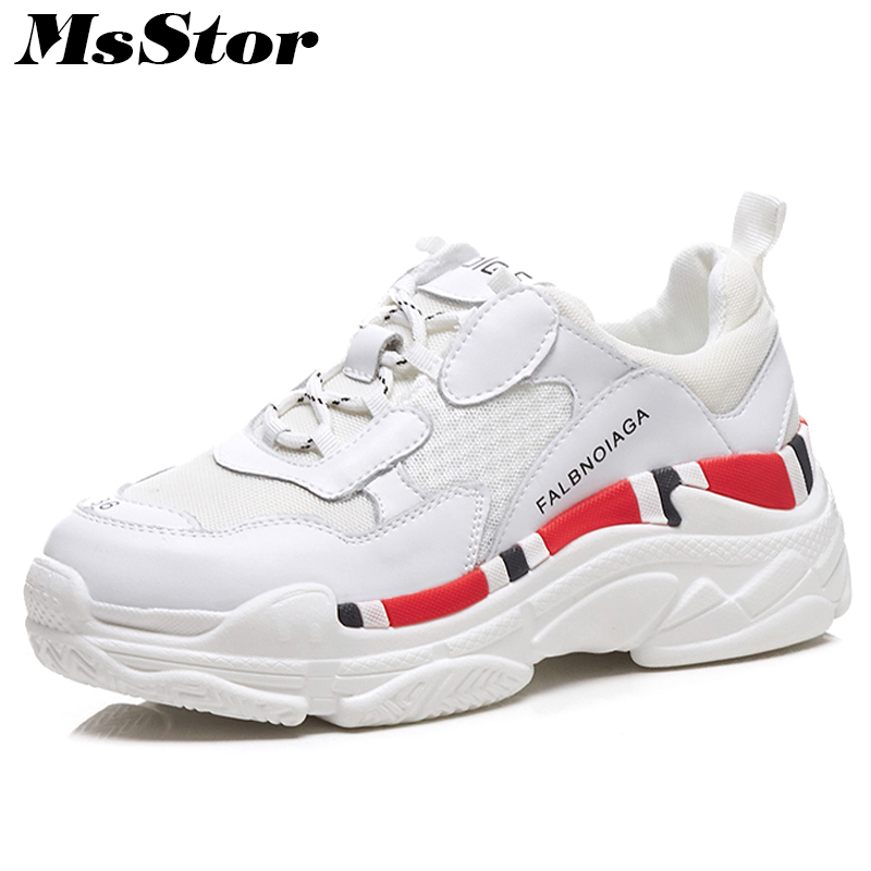MsStor Mesh Breathable Women Sneakers Fashion Mixed Colors Casual Women Flat Shoes Spring Thick Bottom Women Flats Brand Shoes gogc 2018 new floral denim slipony women breathable shallow shoes footwear flat shoes women fashion sneakers women summer spring