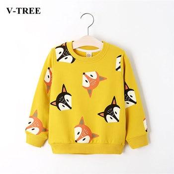 V-TREE Boys Shirts Color Cartoon T-shirt For Girl Cotton Girls Tops Child Shirt Candy Color Kids Blouse School Baby Sweatshirt 1