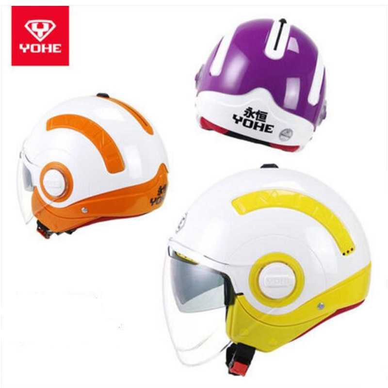 2018 New YOHE Half Face Motorcycle Helmes MINI Double lens Motorbike Helmet Made of ABS and PC visor size M L XL 10 kinds colors