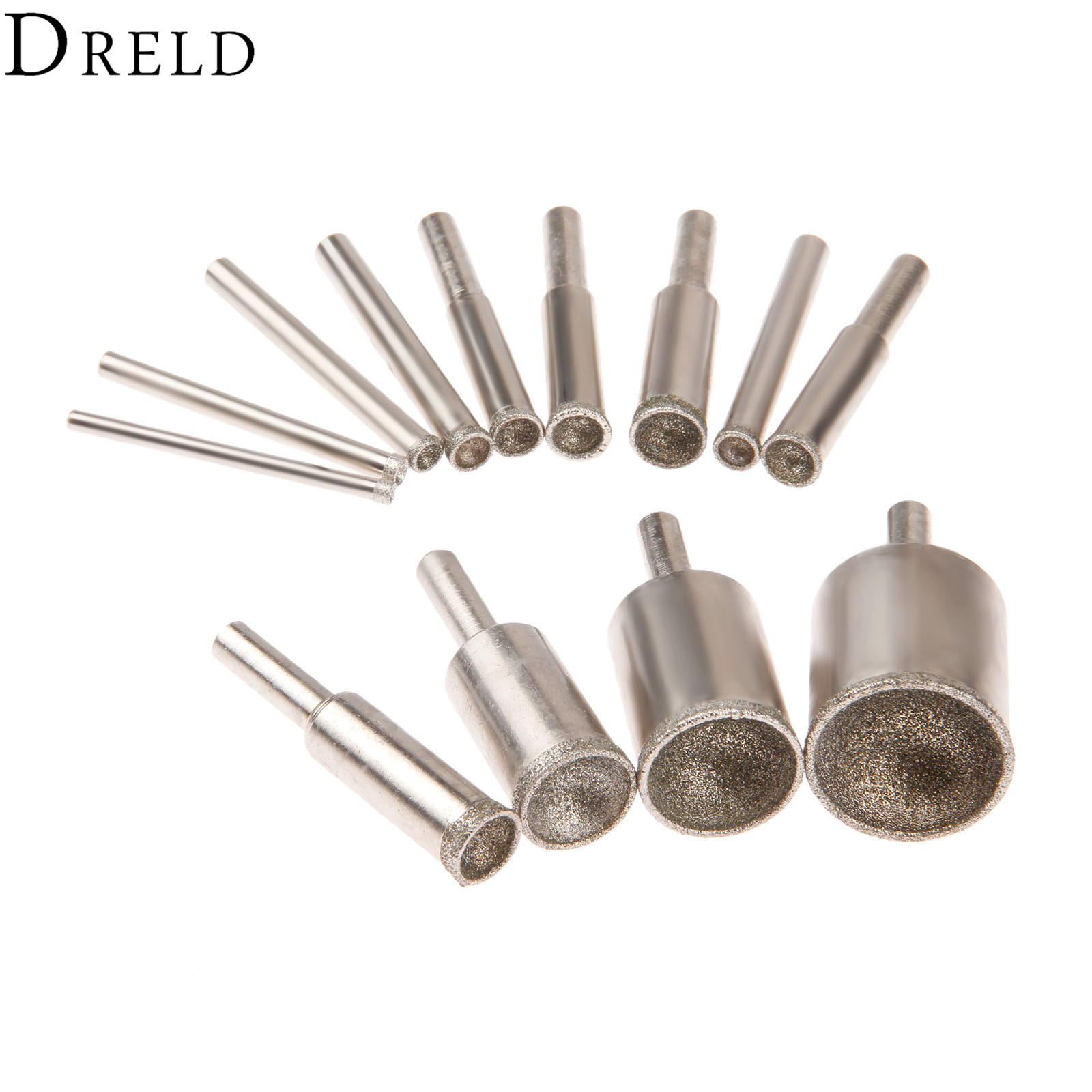 DRELD 1Pc Diamond Mounted Point 8-25mm Beads Shaping Spherical Concave Carving Grinding Head Shaping Tool Grit 80 Coarse Sand