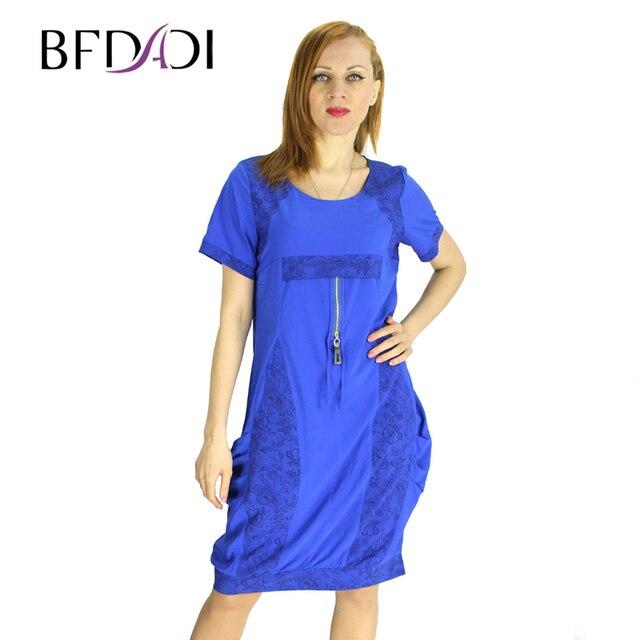 BFDADI 2016 новинка женское платья твин карманы с коротким рукавом женское летнее платье Большой размер бесплатная доставка 2151